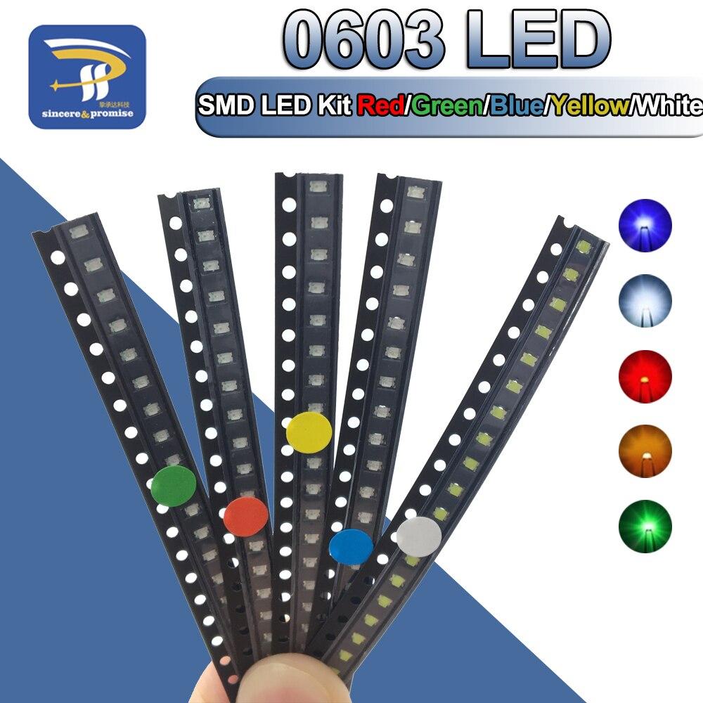 5 цветов x20 шт. = 100 шт. SMD 0603 LED DIY Kit супер яркий красный/зеленый/синий/желтый/белый цвет