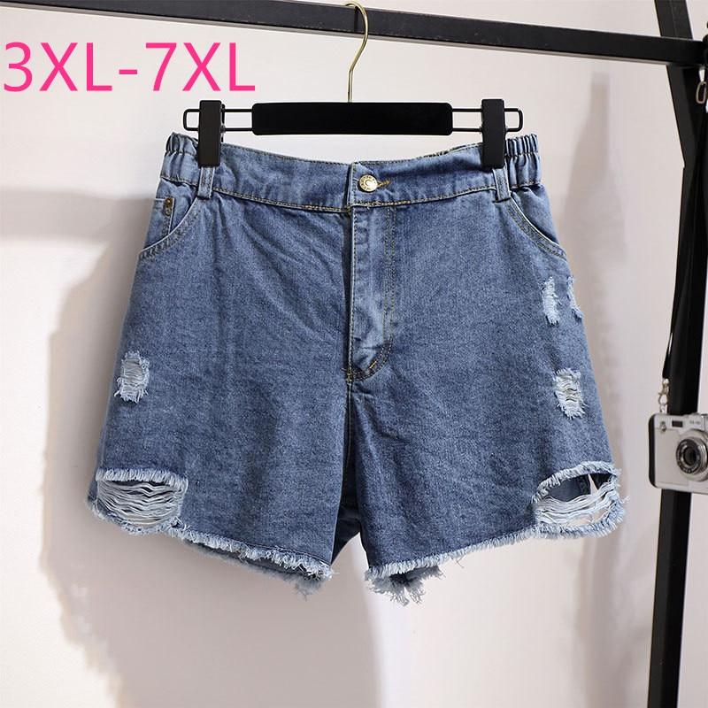 2020 Summer Plus Size Denim Shorts For Women Large Loose Casual Elastic Waist Cotton Hole Wide Leg Shorts Blue 4XL 5XL 6XL 7XL