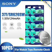 10 pçs sony 377 377a sr626sw ag4 sr626 lr66 lr626 ag 4 1.55v bateria de óxido de prata para relógio de brinquedo do carro remoto botão da moeda célula