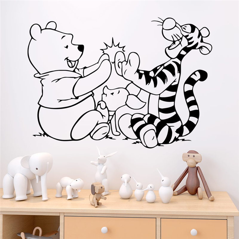 Disney Winnie The Pooh And Tigger Wall Stickers Bedroom Home Decor Accessories Cartoon Wall Decals Vinyl Mural Art Diy Posters Wall Stickers Aliexpress