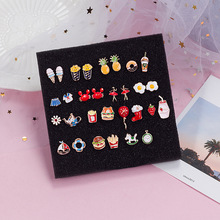 Japan and South Korea in 2020 cartoon oil drops small asymmetric earrings creative