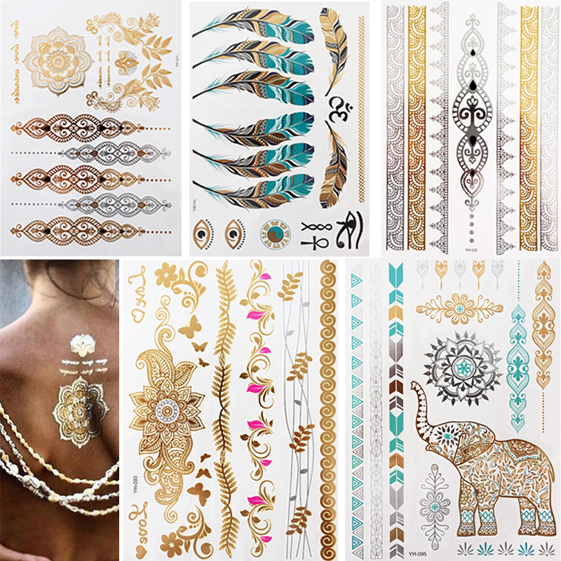 5pcs/lot Waterproof Temporary Tattoo Women Henna Body Arm Art Fake Flash Tatoos Gold Silver Metallic Tatoo Stickers