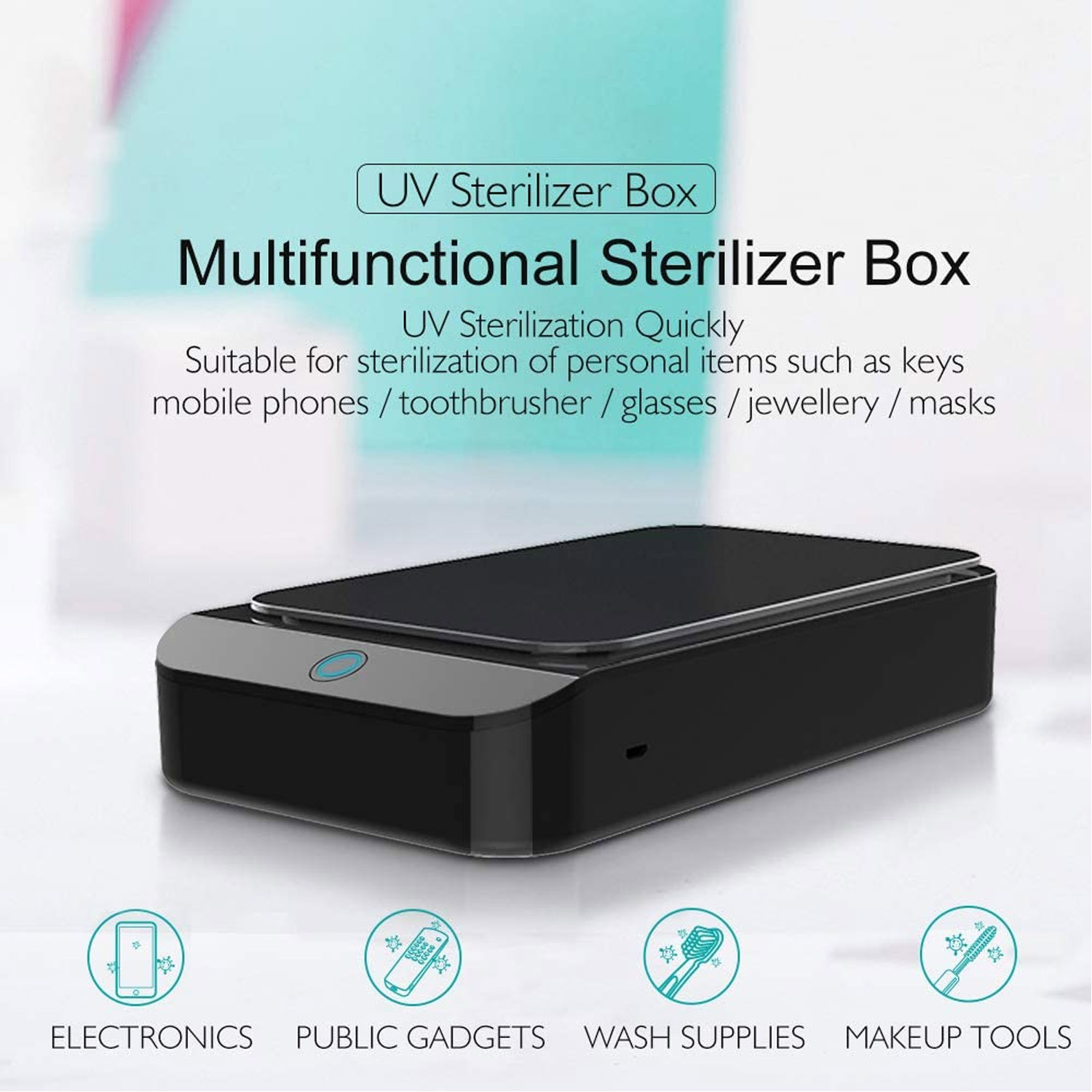 UV Light Sterilizer Disinfection Box Smart Phone Sterilizer Box Cleaner For Toothbrush Cell Phone Key Makeup Tools Sanitizer Box