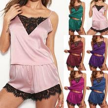 Пижамный комплект Женский атласный, одежда для сна, топ и шорты, шелковая кружевная одежда для сна