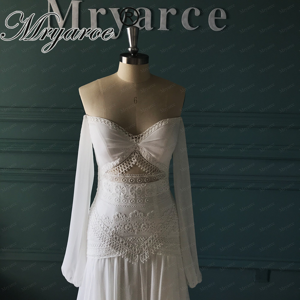 Mryarce 2020 Morden Bridal Silk Chiffon Flowly Boho Chic Wedding Dress Open Legs Lace Bohemian Bridal Gown