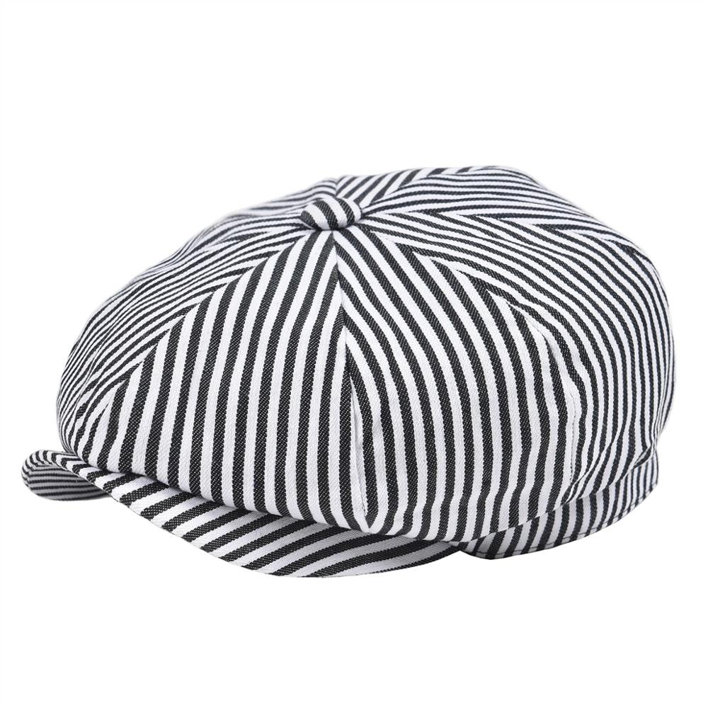 VOBOOM Summer Twill Cotton Newsboy Cap Black White Stripe Ivy Caps 8 Panel Cabbie Men Women Gatsby Hat 146