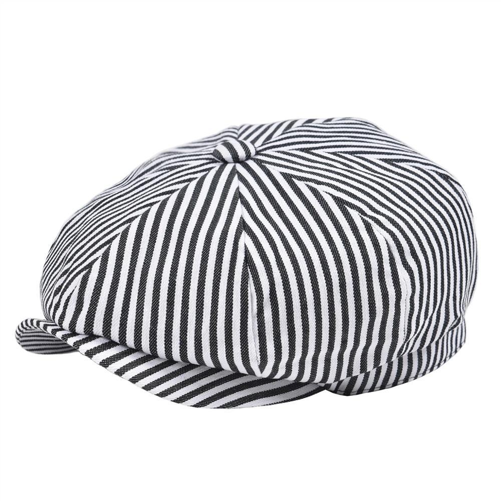 VOBOOM Summer Twill Cotton Newsboy Cap Black White Stripe Ivy Caps 8 Panel Cabbie Men Women Gatsby Hat 146