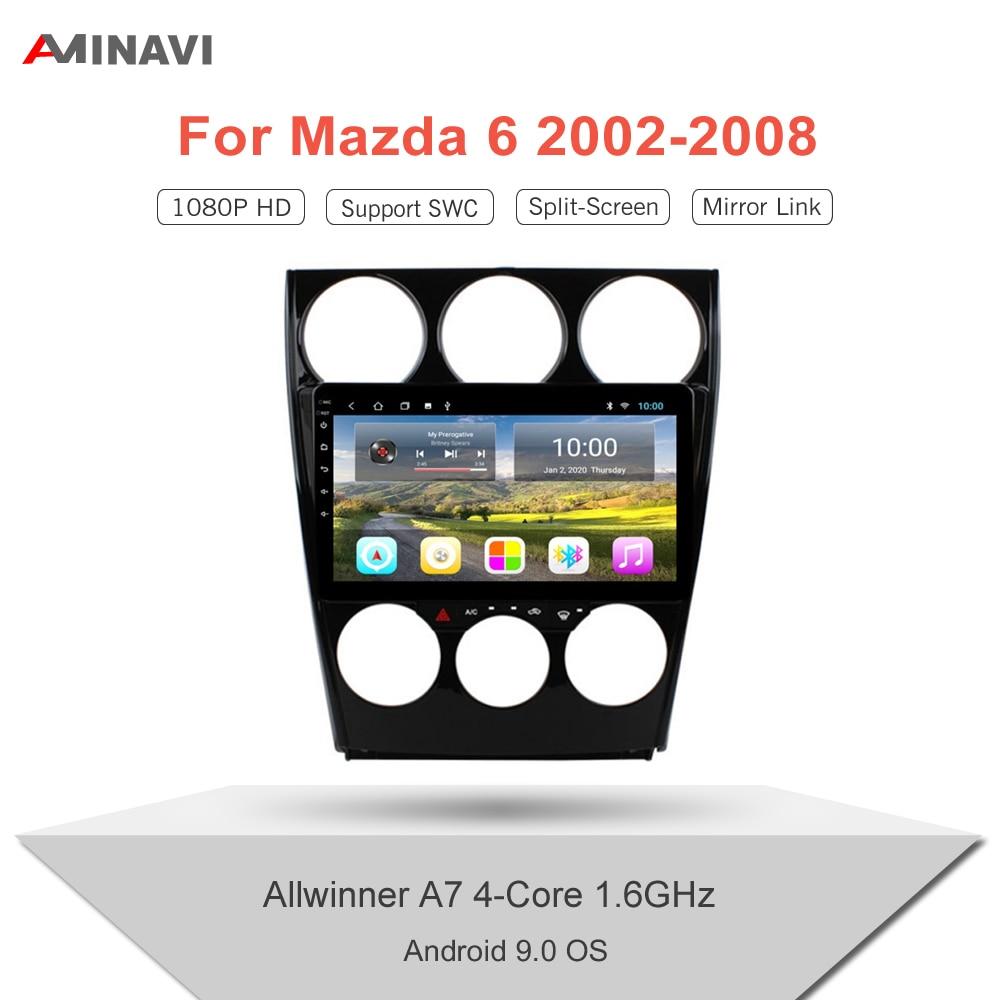 Автомагнитола для Mazda 6 2002-2008 9/10, 1 дюйм, HD, 2 Din, Android 9,0, мультимедийный видеоплеер, Универсальная автомобильная стереосистема