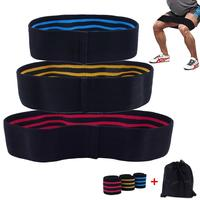 Set of 3 Hip Bands Elastic Booty Bands Braided with Bag for Fitness Crossfit Legs Butt Glute Squat Pilates Stretch Gym Workout