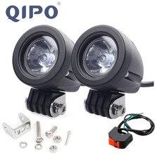 QIPO 1 زوج 10 واط دراجة نارية Led المصباح ضوء العمل الطرق الوعرة SUV أضواء بقعة/الفيضانات 12 فولت 4x4 ATV مساعد موتور الضباب مصباح قيادة