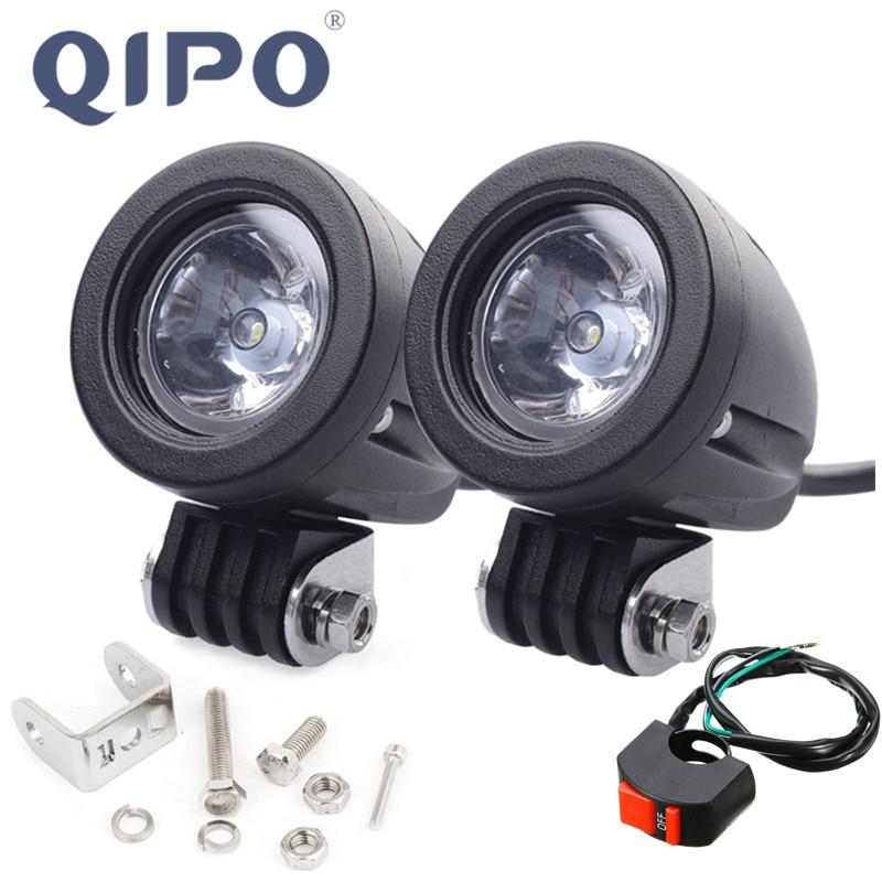 QIPO 1 пара, 10 Вт, светодиодная фара для мотоцикла, рабочий  свет, внедорожные фары для внедорожников, прожекторы, 12 В, 4x4, ATV,  дополнительный мотор, противотуманная фара для вожденияlight atv -