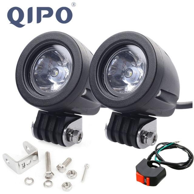 QIPO 1Pair 10w Motorcycle Led Headlight Work Light Offroad SUV Lights Spot/flood 12v 4x4 ATV Auxiliary Motor Fog Driving Lamp