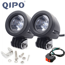 Светодиодсветильник фара для мотоцикла QIPO, рабочее освещение для внедорожников, точечных и прожекторных работ, 12 В, 4x4, мотовездеходов, противотуманная фара дальнего света, 1 пара, 10 Вт