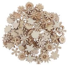100 sztuk kwiat i liść drewniane ozdoby ręcznie wykonane DIY Scrabook Cardmaking