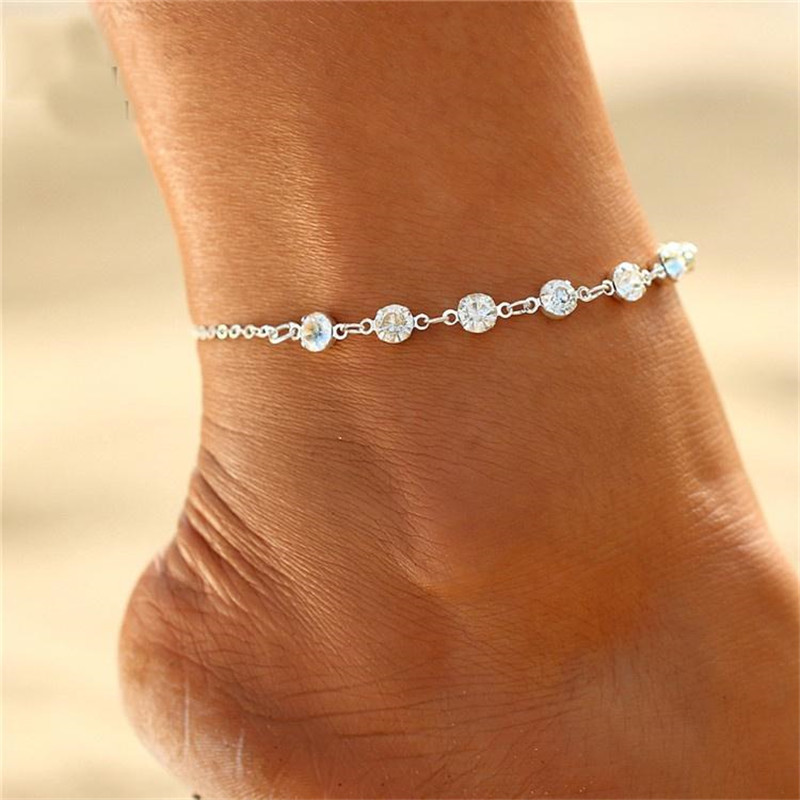 17KM Bohemian Crystal Shell Anklets for Women Colorful Stone Anklet Multilayer Foot Bracelet on Leg Beach Turtle Anklet Jewelry