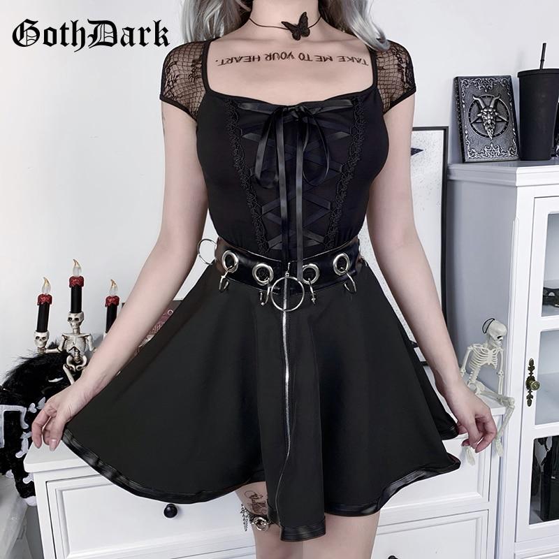 Goth koyu gotik seksi kadınlar yaz Tees siyah bandaj dantel Patchwork t-shirt Bodycon şeffaf Punk Vintage kadın üstleri 2020