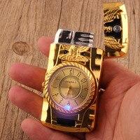 Luxuoso relógio de ouro jet mais leve tocha turbo gás mais leve à prova vento charuto cigarro metal isqueiro 1300 c inflado gasolina butano
