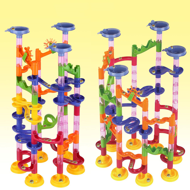 105PCS Kids DIY Marble Path Gravitrax Track Building Pipe Blocks Circuit Marble Run Maze Balls Educational Toy For Children