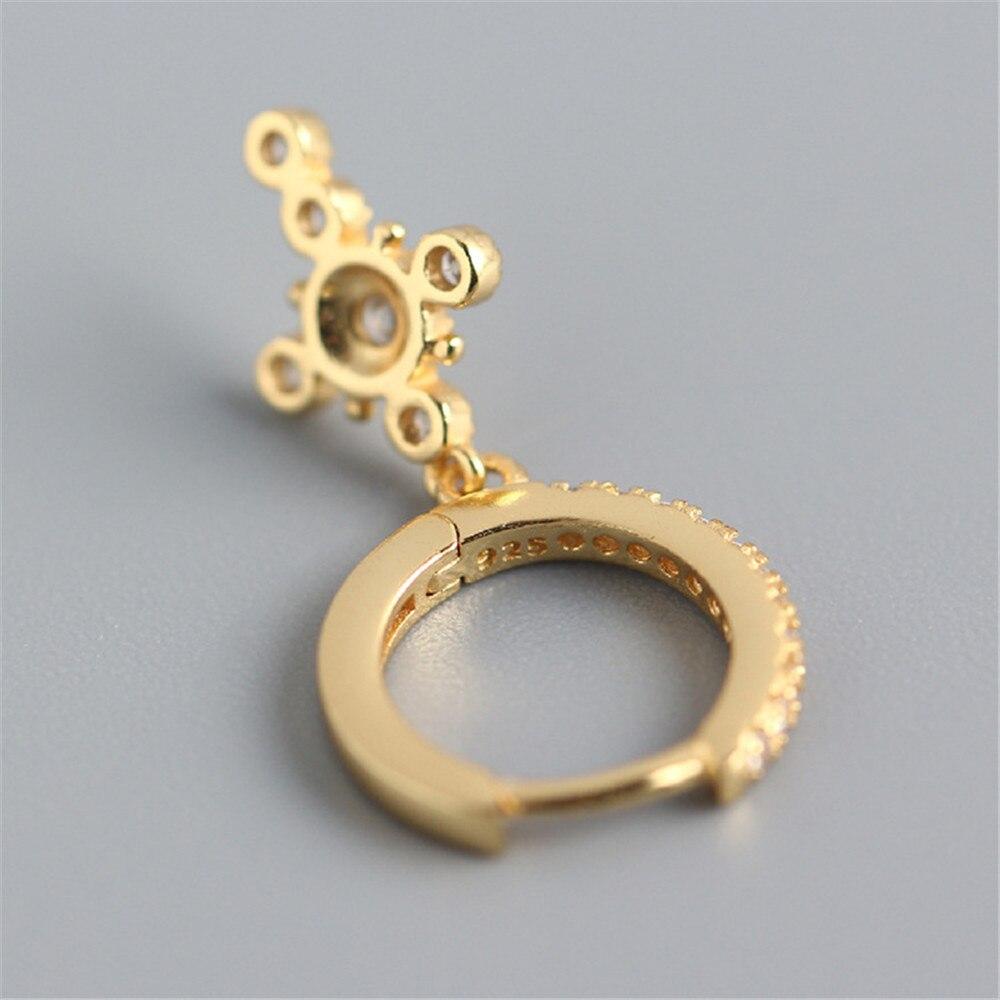 ANDYWEN 925 Sterling Silver Gold Crystal Zircon CZ Circle Drop Earring Cross Pendiente Piercing No Clips Women Luxury Jewelry