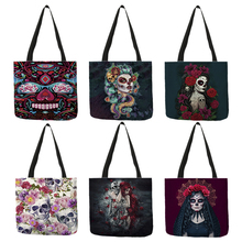 B01104 Day of the Dead Floral Skull Print Tote Bag Handbags for Women Halloween