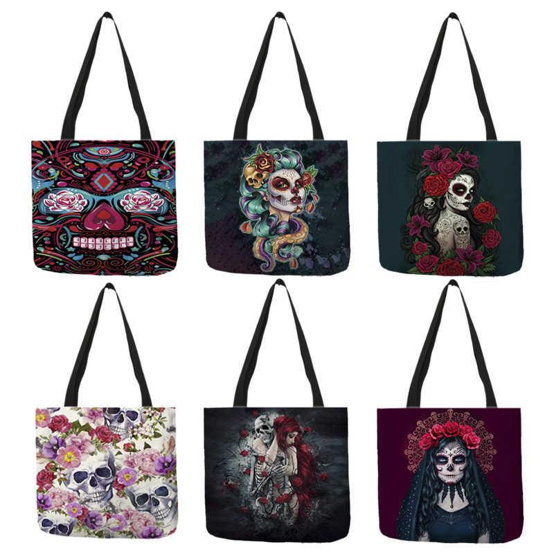 B01104 Сумка-тоут с цветочным принтом в виде черепа для женщин на Хеллоуин, сумки для покупок с изображением сахарного черепа для девушек, большая ВМЕСТИТЕЛЬНОСТЬ