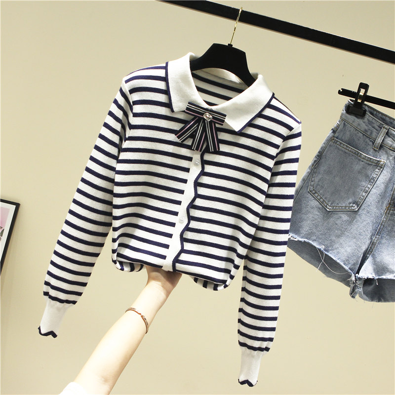 Spring Autumn Knitted Sweater Shirt Womens Long Sleeve Loose Outwear Striped Jacket Femme Lady Lapel All-match Tops Knitwear