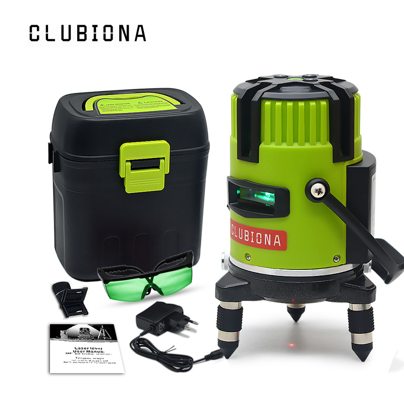 CLUBIONA Laser-Level Beam-Line Rotary Mode-Receiver Green Outdoor Tilt And Red Slash