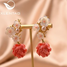 XlentAg 925 Sterling Silver Pink Coral Drop Earrings White Pearl Pink Natural Stone Shell Flower Dangle Earrings Jewelry GE0024(China)