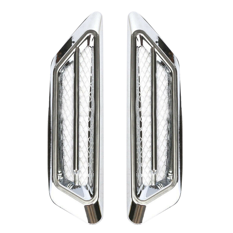 2Pcs Plastic Chrome Car Air Flow Fender Side Vent Decoration Stickers Accessories