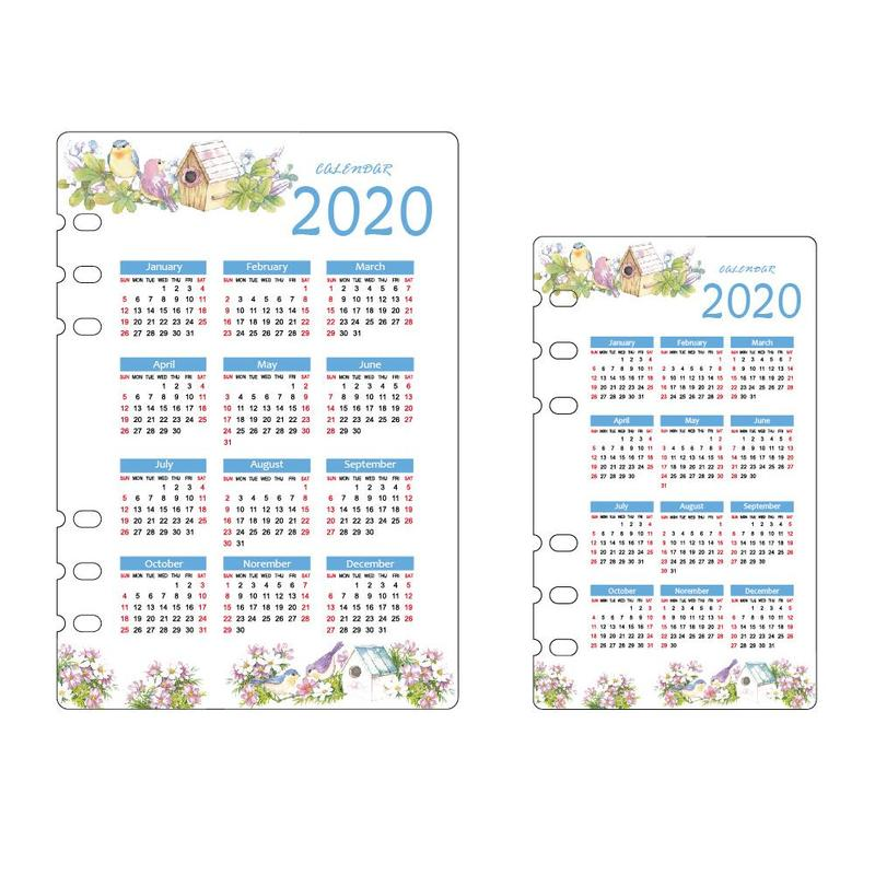 2020 A5 / A6 Calendar Bezel Cute School 6 Hole Pp Index Plan Stationery Weekly Notebook Supplies Divider Binder Girl Diary E6P0