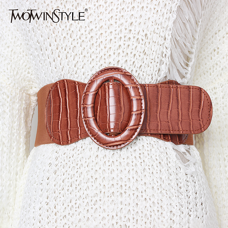 TWOTWINSTYLE Korean Striped Belt For Women High Waist Dresses Accessories Elastic Slim Female Belts 2020 Summer Fashion New