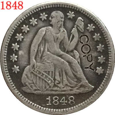 USA 1848 يجلس ليبرتي الدايم نسخة عملات