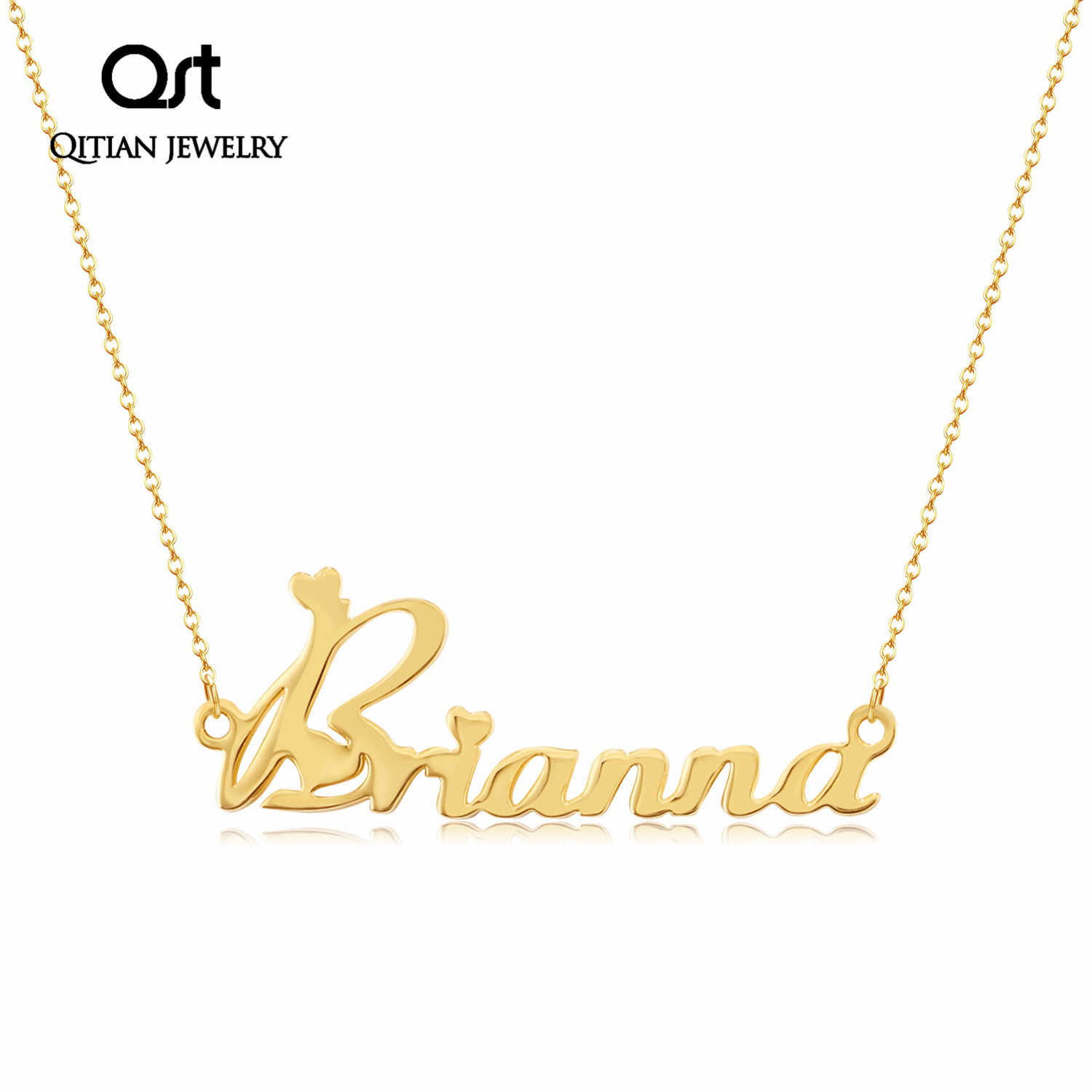 Custom Personalized Name Pendant Necklaces For Women Stainless Steel Custom Gold Chain Nameplate Necklace Jewelry