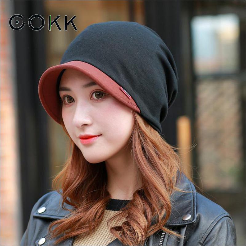COKK Cotton Ponytail Cap Winter Hats For Women Turban Hat Female Beanie Stretch Hats Bonnet Winter Cap Ear Windproof Bonnets