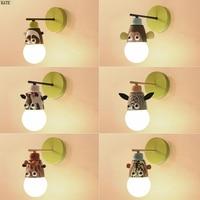 Nordic modern Cartoon Kid Wall Lamp Child Bedroom Lighting Novelty Animal Cartoon LED Children Bedside Wall Light