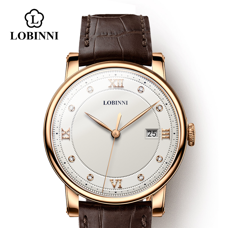 LOBINNI Switzerland Watch Luxury Brand Lovers Wristwatch Sapphire Vintage Quartz Watch Leather Couple Watch Xmas Gift Men Women
