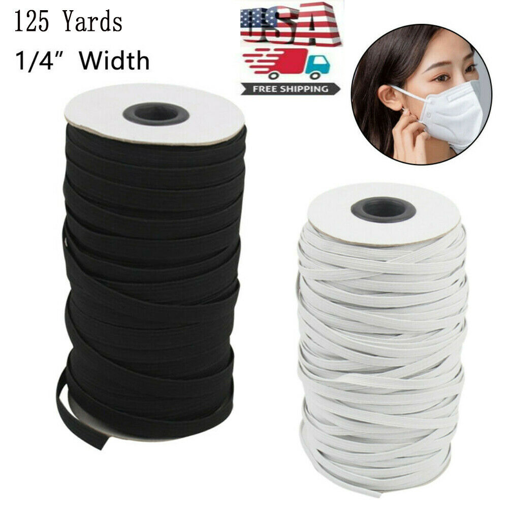 125 Yards Length DIY Braided Elastic Band Cord Knit Band Sewing 1/8 1/4 Inch