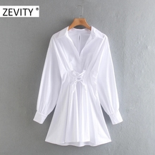 ZEVITY women vintage long sleeve waist bandage sashes poplin mini dress lady back zipper casual slim vestido chci dresses DS4283