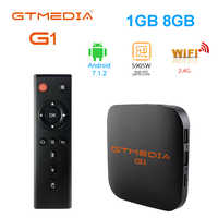 Original global gtmedia g1 caixa de tv 4 k android tv 7.1 ultra hd amlogic s905w 1g 8g wifi google elenco iptv conjunto caixa superior media player
