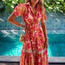2021 Bohemian Floral Print Long Dress Women Vintage V Neck Short Sleeve Maxi Dress Summer Turn Collar Casual Beach Party Dresses