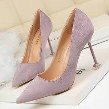 Sexy High Heels Women Pumps Ladies Flock Point Pumps Gray Beige Purple Wedding