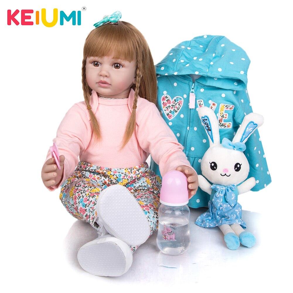 KEIUMI 24 дюйма силиконовая Возрожденный ребёнок кукла 60 см новорожденная Мягкая кукла принцесса реборн Bebe игрушки ткань тела, куклы для детей ...