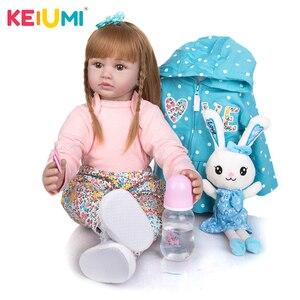 KEIUMI 24 Inch Silicone Reborn Baby Doll 60 cm Newborn Stuffed Princess Reborn Bebe Toys Doll Kids Birthday XMAS Gift(China)