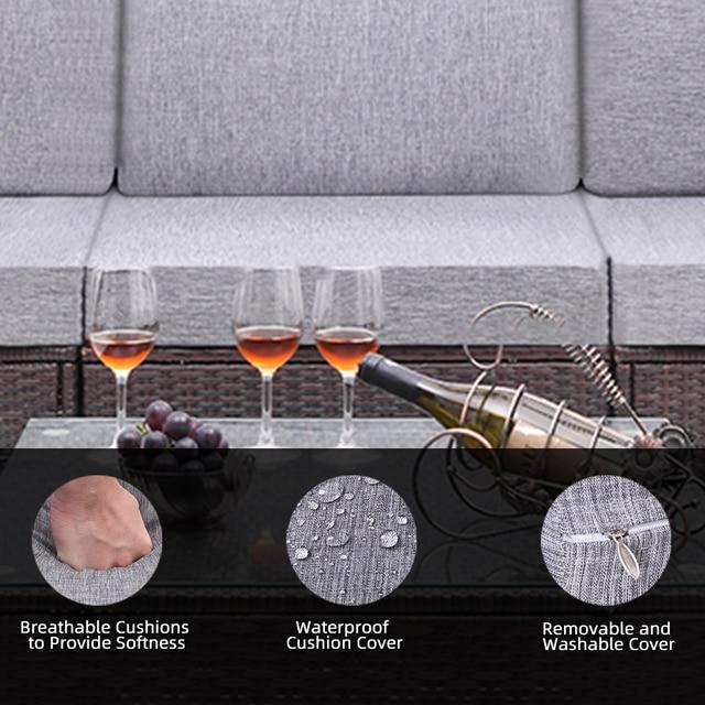 4 Pieces Patio PE Wicker Rattan Corner Comfortable Breathable Sofa Set For Home Living Room Bedroom Decoration 4