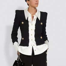 EXCELLENT QUALITY 2020 Newest Baroque Designer Jacket for Ladies Shirt Collar Satin Wool Blend Patch