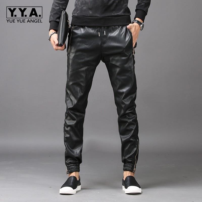 2020 New Fashion Mens Hip Hop Harem Pants Faux Leather Long Pants Male Trousers Pockets Elastic Waist Pantalon Hombre Plus Size