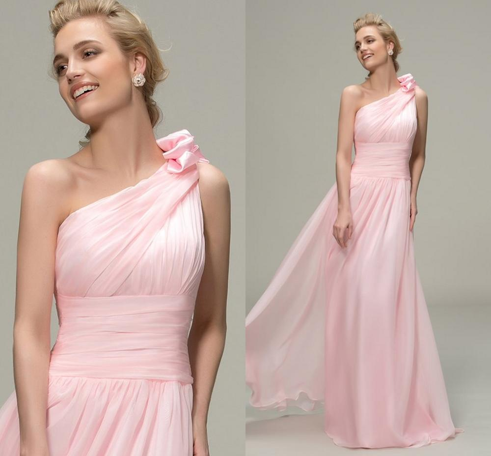 New Pink Long Bridesmaid Dresses 2019 Simple Ruched One Shoulder A-Line Dress Pageant Vestidos De Noiva