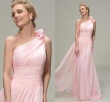 New Pink Long Bridesmaid Dresses 2019 Simple Ruched One Shoulder A-Line Dress Pageant Vestidos De Noiva