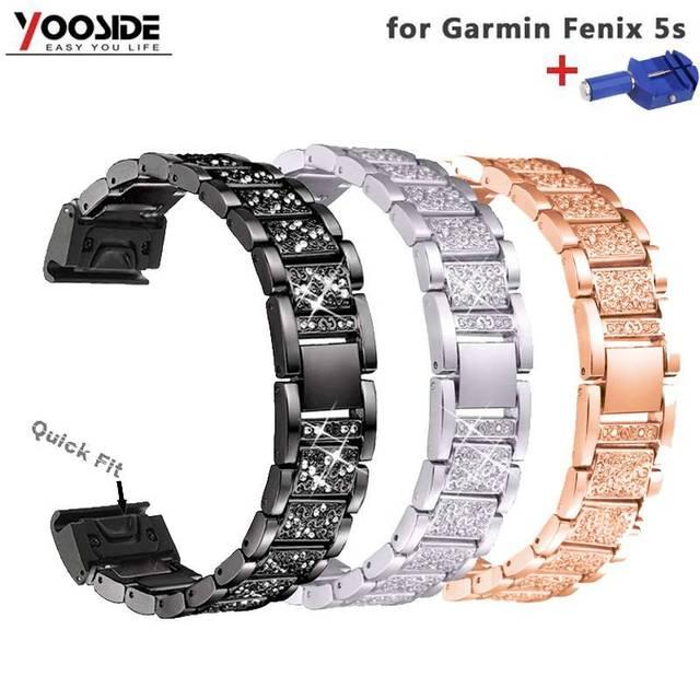 YOOSIDE Fenix 6S מהיר Fit נשים צמיד 20mm קריסטל בלינג סגסוגת מתכת להקת שעון רצועת עבור Garmin Fenix 5S/5S בתוספת
