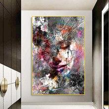 Graffiti arte abstrata menina quadros em tela posters e impressões da parede moderno pop arte fotos para sala de estar decoração